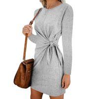Casual Dresses Women's Autumn Winter 2021 Slim Solid Gray Long Sleeve Belt Dress Female Pink Bodycon Vestidos Street Clothes