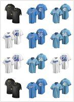 2021 Королевские мужчины Женщины молодежи 41 Дэнни Даффи 56 Брэд Келлер на заказ Бейсбол Джерси Пустая реплика Альтернативный синий белый серый