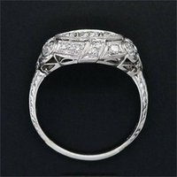 Cluster Rings Fashion White 4CT 6-10Bridal Silver Engagement Women Men Ring Size Wedding