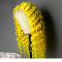 13x6 Şeffaf Dantel Peruk Su Dalga Dantel Ön İnsan Saç Peruk Öncesi Klumped 13x4 Dantel Peruk Sarı Renkli Remy Saç Peruk