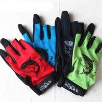 Ademend anti-slip vishandschoenen 3 vinger uit één maat elastische rug print vingerloze handschoenkleur willekeurig