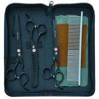 "Hair Scissors Purple Dragon 7.0"" Pets Grooming Dog Cat Fish Bone Thinning Hairdressing Shears Set Curved Cutting Haircut Tools B0033B"