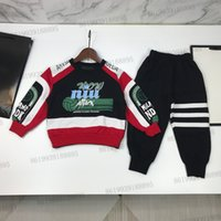 Bambini di lusso Pullover + Pantaloni datati Set Set per bambini Autunno Manica lunga 65% Cashmere Blend Maglione Tracksuit Abbigliamento Set ragazze Cappotto invernale Cappotto Ragazzi Sport Suit