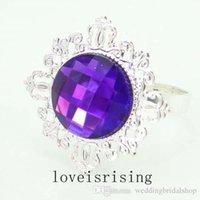 22 Beautiful tavolo acrilico anello d'argento anello decorazione anelli tovaglioli Gem Party Plated Tovagliolo per matrimoni Tovagliolo Colori di stoffa - 100pcs / lot Tacxh