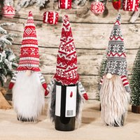 Christmas Gnome Faceless Doll Red Wine Bottle Cover knitting Long Beard Beer Champagne Bottles Covers Home Xmas Festival Party Table Dinner Decorations JY0798