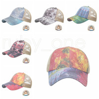 Cravate Teye Poneytail Casquette de baseball Criss Cross Lave-boule lavée Caps Cravate Cravate Dye High Messy Festive Party Hats Fournitures RRA4184