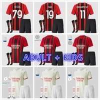 Kit d'enfants adulte 2022 AC Ibrahimovic Milan Jerseys de football Calhanoglu 20 21 22 Rebic Theo Theo Paquet de football chemise Romagnoli fans Jersey