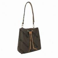 Genuine Leather Women's Bucket Shoulder Bags Crossbody Bag Simple Portable Leisure Handbags Tote Adjustable Strap Fashion String Bags 6 Colors