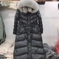 Mulheres para baixo parkas fitaylor grande pele natural com capuz jaqueta de inverno mulheres 90% branco pato grosso faixa quente amarrar o casaco de neve 2021 Slim1