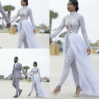 2021 Plus Size Jumpsuits Wedding Dresses With Detachable Train High Neck Long Sleeves African Beaded Bridal Gowns