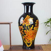 Chinois Classic Royal Crystal Glaze Black Vase Vase à la maison Décoration Céramique Art Vase Fleur
