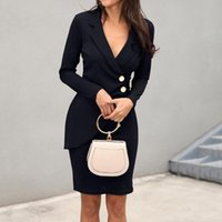Casual Dresses Fall 2021 Black Dress Office Wear Vintage Tight Sexy Bodycon V Neck Elegant Party Button Front Autumn Women Robe