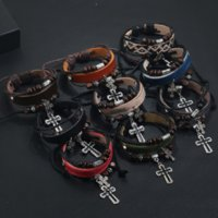 Jesus Cross Bracelet Wood Beads String Adjustable Multilayer Wrap Leather Bracelets Bangle Cuff for Women Men Fashion Jewelry Will and Sandy