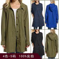 Women's Wool & Blends Raincoat Jacket Coat Long Spring Autumn Windbreaker Waterproof Sports Hiking Loose