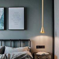Nordic Başucu LED Avize Lambası Post-Modern Minimalist Yaratıcı Bar Sayacı Usta Yatak Odası Uzun Yemek Odası Tek Kafa Altın Siyah Kolye Işık R329