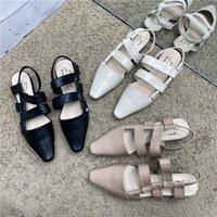2021 Весенние Летние Сандалии Slincback Swears На Нижнем каблуке Женщины Полуплены Точечные Насосы Pointy Toe Дизайнерские Насосы Обувь Элегантные Плиссированные Санссы
