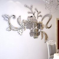 Window Stickers # 3d Mirror Floral Nordic Style Wall Art Removable Acrylic Mural Decal Home Decor Sticker For Living Room