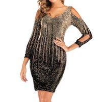 Casual Dresses Female Cut Out Long Sleeve Sequin Sheath Dress Prom Party Off The Shoulder Mini Skinny Sexy V-neck Street Bodycon Robe