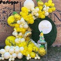 118pcs Yellow Milky White Balloon Garland Arch Kit Big Aluminum Foil Pineapple Balloon Wedding Birthday Baby Shower Decorations G0927
