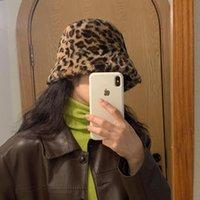 Wide Brim Hats Oshoplive Japanese-style Leopard&Solid Color Bucket Hat Women South Korea Warm Thick Cashmere Vintage Fisherman