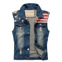 Гиндзные мужские повседневные звезды и стриптиз Papt Patch Design Denim Vest American Flag Coles Roading Pook Plus Большой размер бака