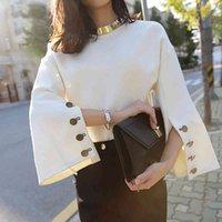 Women's T-Shirt Camisa feminina para outono, lisa, branca, gola redonda, casual, camurça, botões, manga longa, flare M0HA