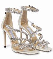 Italy Brands Josefine Sandals Crystal Strappy Elegant Lady High Heels Bridal Shoes Wedding Party Bridals Sexy Walking EU35-43
