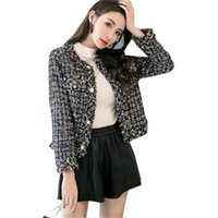 Two Piece Dress Zawfl - women's Vintage tweed jacket, style, high quality, round neck, stone button, mixed short, fall 2021