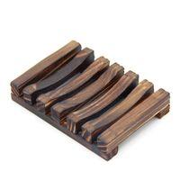 الخيزران الطبيعي خشبي الأطباق الصابون لوحة صينية حامل مربع حالة دش اليد غسل الصابون حامل 2 ألوان 176 S2