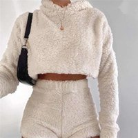 Womens 2 Pcs Sets Sexy Fluffy Suits Velvet Plush Hooded Sleepwear Shorts Crop Top Female Tracksuit Casual Sports Set Overalls Sweatshirts