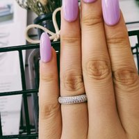 Cluster Rings Solid Real Luxury! 925 Sterling Silver Ring Set Wedding Engagement Fashion For Bridal Women Moonso Jewelry Lr3400as