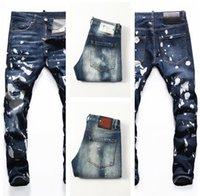 Designer dünne Füße Hosen Herren DSQ Jeans Ripped D2 Paint Splatter Retro Blaue gerade hohe Qualität Jean Streetwear Bettler