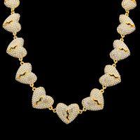 Hip Hop Iced Out Chian Pendants Collana Gioielli Nuovi Mens Womens Gold Silver Rotto cuore Collana