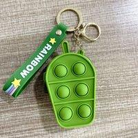 Mini Bubbles ICE Cream Popper Bag Sensory Toy Rubber Silicone Purses Cute Shape Key Ring Fidget Push Pop Bubble Puzzle Cases Wallet Coin Bags Keychain Gift E105