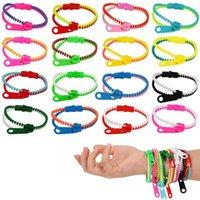 Friendship Fidget Zipper Bracelets 7.5 Inches Sensory Toys Set Neon Colors Birthday Party Favors for Kids Goodie Bags
