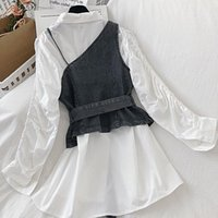Blusas das mulheres Camiseta Mulheres coreanas Duas peças Conjuntos de faixas irregulares Slim cintura Demin Sling Colete + Blusa Médio Dress Spring Ternos 5