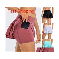 Roupas Tênis Lu Yoga Running Sports Golf Midway Plated Skirt Voltar Cintura Bolso Zíper Ginásio Roupas Mulheres Mini Vestido 9G28K Enndg