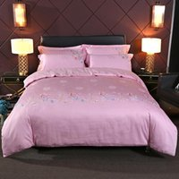 Bedding Sets Cotton Embroidery Set Comforter 4Pcs Bed Queen King Size Pillowcases Duvet Cover Pink Crotina Sheet