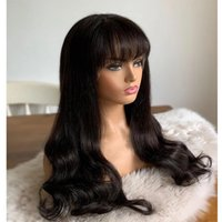 Wavy Lace Front Wig With Bangs Human Hair fringebangs Wigs For Black Women Brazilian Body Wave 30 Inch 360 Frontal Fringe Glueless full lacewigs
