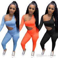 Leggings Sports Suits Two Pieces Set Outfits Slim Sexy Solid Colour Autumn Hollowed Out Long Sleeve Deisgner Women Tracksuits