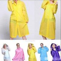 Rainwear 5 colori Eva da donna Eva impermeabile Capispalla per esterni Capispalla con cappuccio Cappotto da pioggia Coat Solid Colour Ginocchiale Ponchoat Ponch XH95L7