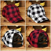 24 Styles Newest Fashion Popular Baseball Cap Black Red Checked Cross Net Hat Knitted Camouflage Leopard Print Ponytail Ball Cap LLA365