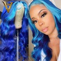 Koronkowe Peruki Podświetlenie Błękitne Purpurowe 13x4 Peruek Czołowy Ombre Kolorowe Ludzkie Włosy Dla Kobiet Brazylijski Remy Ciała Fala