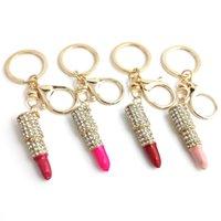Charme Kristall Keychain Lippenstift Schlüsselinhaber Strass Schlüsselanhänger Keyfob Rot Rose Anhänger Schlüsselanhänger Ringe Frauen Schmuck 195 R2