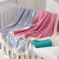 Baby Tassel Blankets Newborn Swaddle Muslin Diaper Kids Bath Towel Gauze Solid color Infant Fringe Swaddles Blanket 105*105cm Z4309