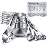 7/15 adet Paslanmaz Çelik Ölçme Kaşık Ölçüm Bardaklar Metal Ölçme Scoop Aracı Mutfak Pişirme Pişirme Gereçleri için Set