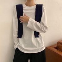 Women's T-Shirt White Bottom Coat Autumn 2021 Korean Dress With Pure Color Student Long Sleeve