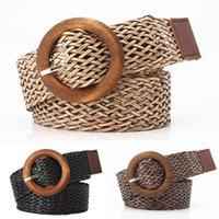 Belts Women Bohemian Braided Belt Fashion Wooden Buckle Summer Dress Jeans Wide Black PP Straw Wasit Boho For
