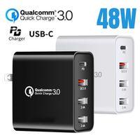 48W 4 멀티 포트 PD 빠른 빠른 벽 충전 어댑터 QC 3.0 USB 유형 C 허브 충전기