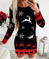 Casual Dresses Christmas Snowflake Elk Print Dress Women 2021 Winter Elegant Puff Shoulder Long Sleeve Lady Fashion Slim Mujers